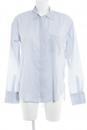 Abercrombie & Fitch Long Sleeve Shirt white-steel blue striped pattern