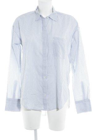 Abercrombie & Fitch Langarmhemd weiß-stahlblau Streifenmuster Casual-Look