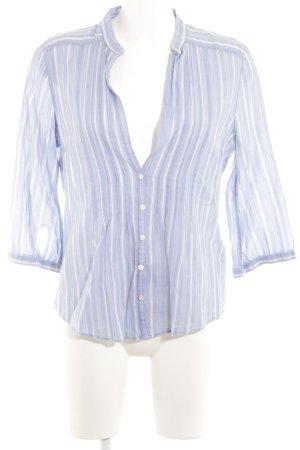 Abercrombie & Fitch Blusa de lino azul claro-blanco estampado a rayas