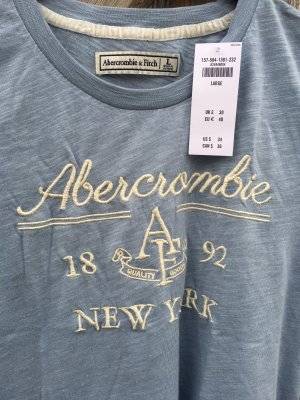 Abercrombie&Fitch Logo T-Shirt in graublau-meliert