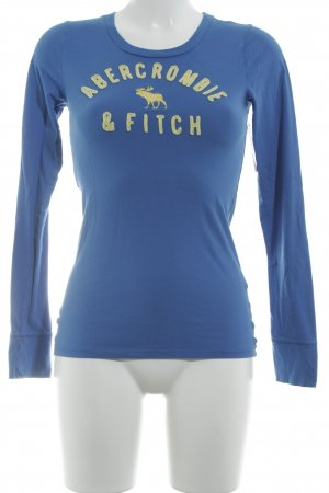 Abercrombie & Fitch Longsleeve steel blue-neon yellow embroidered lettering