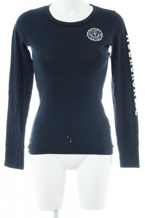 Abercrombie & Fitch Longsleeve weiß-dunkelblau sportlicher Stil