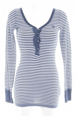 Abercrombie & Fitch Longsleeve white-dark blue striped pattern casual look