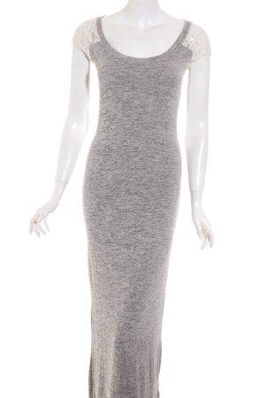 Abercrombie & Fitch Maxikleid grau-weiß meliert klassischer Stil