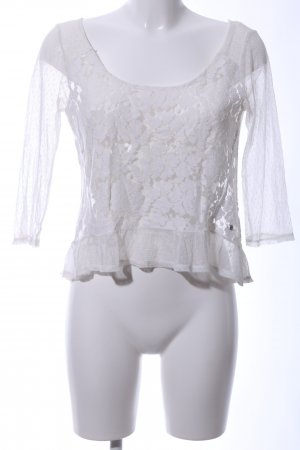 Abercrombie & Fitch Mesh Shirt white flower pattern elegant