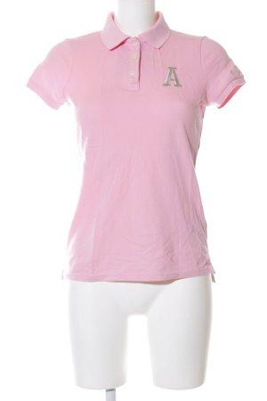 Abercrombie & Fitch Polo-Shirt pink Schriftzug gestickt Casual-Look