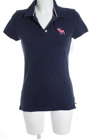 Abercrombie & Fitch Polo-Shirt dunkelblau-pink Casual-Look