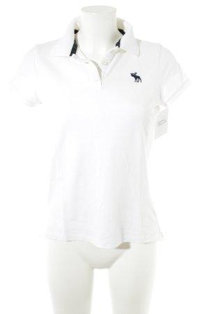 Abercrombie & Fitch Polo blanc-bleu foncé style décontracté