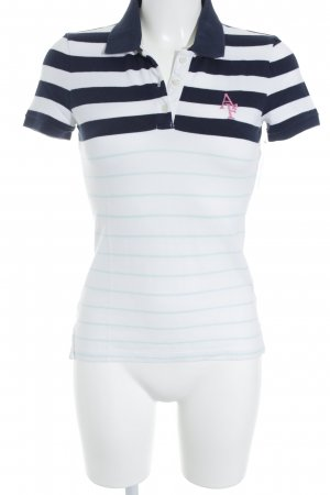 Abercrombie & Fitch Polo shirt wit-donkerblauw gestreept patroon zeiler stijl