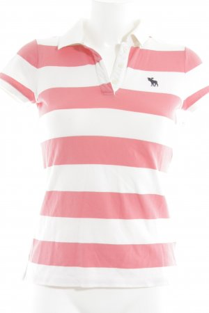 Abercrombie & Fitch Polo-Shirt weiß-magenta Streifenmuster Casual-Look