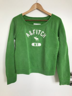 Abercrombie & Fitch Crewneck Sweater green-white cotton