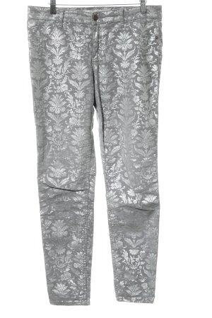 Abercrombie & Fitch Röhrenhose grau-silberfarben Blumenmuster Casual-Look