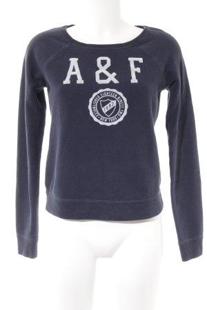 Abercrombie & Fitch Rundhalspullover dunkelblau Schriftzug gedruckt