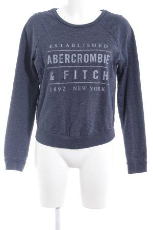 Abercrombie & Fitch Rundhalspullover graublau-blassblau Schriftzug gedruckt