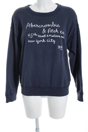 Abercrombie & Fitch Rundhalspullover stahlblau-wollweiß grafisches Muster