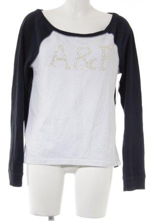 Abercrombie & Fitch Rundhalspullover weiß-dunkelblau Casual-Look