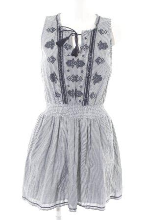 Abercrombie & Fitch schulterfreies Kleid dunkelblau-weiß Aztekenmuster
