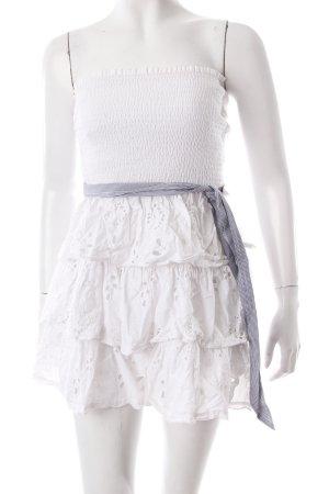 Abercrombie & Fitch schulterfreies Kleid weiß-stahlblau florales Muster