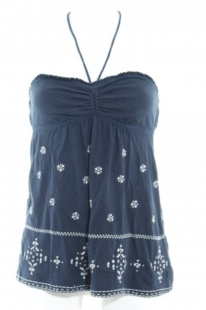 Abercrombie & Fitch Top sin hombros azul oscuro-blanco look casual