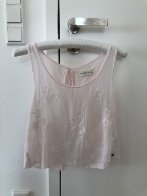 Abercrombie & Fitch Silk Top pink-white silk