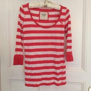 Abercrombie & Fitch Shirt 3/4 Arm in gestreift in rosa/ weiß Größe S
