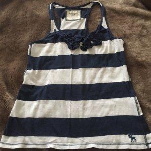 Abercrombie & Fitch Camisa de rayas blanco-azul Algodón