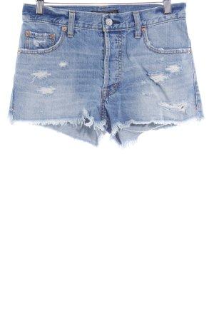 Abercrombie & Fitch Shorts kornblumenblau-wollweiß Casual-Look