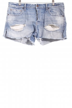 Abercrombie & Fitch Shorts stahlblau Destroy-Optik