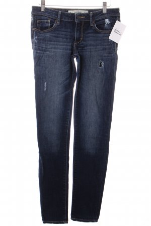 Abercrombie & Fitch Skinny Jeans dunkelblau Destroy-Optik