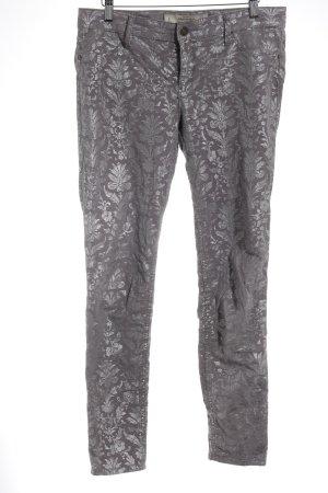 Abercrombie & Fitch Skinny Jeans grau-silberfarben Blumenmuster Casual-Look