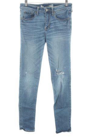 Abercrombie & Fitch Skinny Jeans stahlblau Destroy-Optik