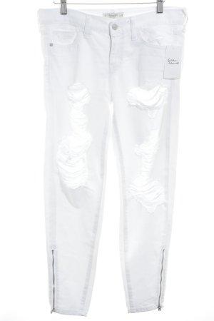 Abercrombie & Fitch Skinny Jeans weiß Destroy-Optik