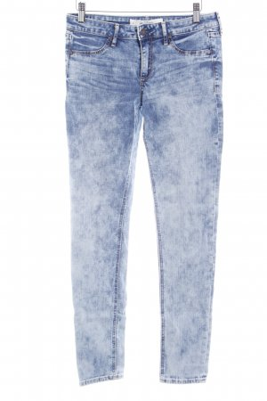 Abercrombie & Fitch Slim jeans blauw-azuur gestippeld casual uitstraling