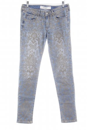 Abercrombie & Fitch Slim jeans goud-blauw bloemenprint casual uitstraling