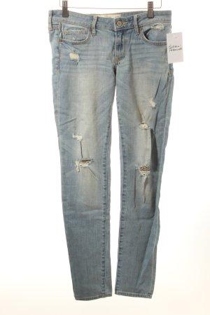 Abercrombie & Fitch Slim Jeans kornblumenblau-wollweiß Destroy-Optik