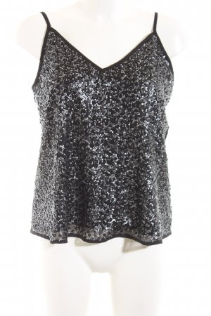 Abercrombie & Fitch Spaghetti Strap Top black-silver-colored elegant