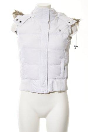 Abercrombie & Fitch Gewatteerd vest wit quilten patroon casual uitstraling