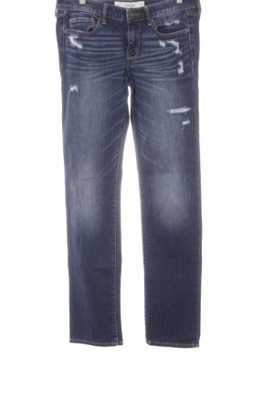 Abercrombie & Fitch Straight-Leg Jeans dunkelblau Destroy-Optik