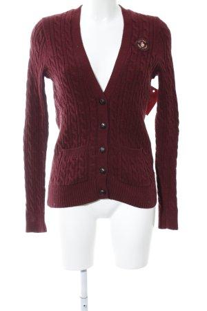 Abercrombie & Fitch Cardigan in maglia rosso punto treccia stile casual