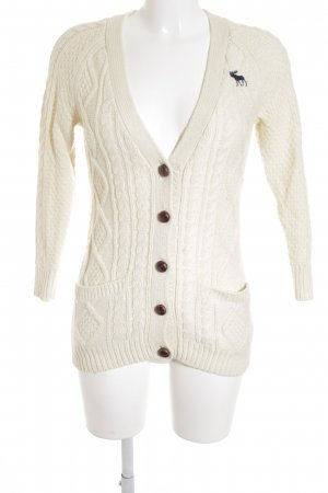 Abercrombie & Fitch Strick Cardigan creme-braun Zopfmuster Casual-Look