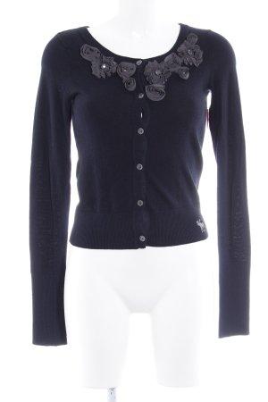 Abercrombie & Fitch Strick Cardigan dunkelblau-dunkelgrau florales Muster