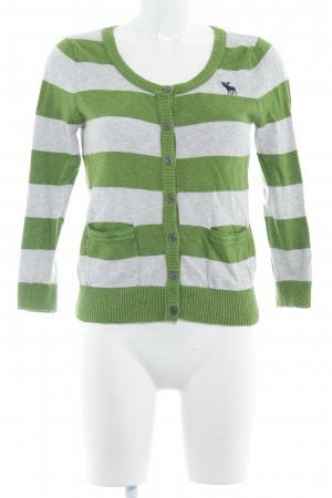 Abercrombie & Fitch Knitted Cardigan grass green-light grey striped pattern
