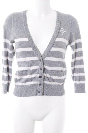 Abercrombie & Fitch Strick Cardigan grau-weiß Streifenmuster Casual-Look