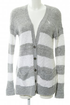 Abercrombie & Fitch Knitted Cardigan light grey-white striped pattern