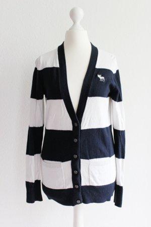 Abercrombie & Fitch Strickjacke, dunkelblau/weiß gestreift