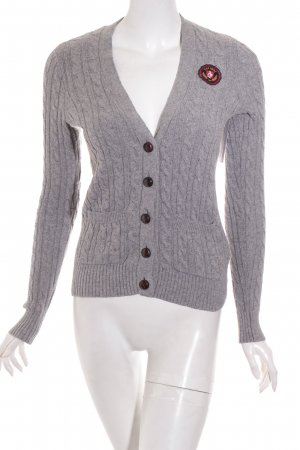 Abercrombie & Fitch Strickjacke grau Zopfmuster College-Look