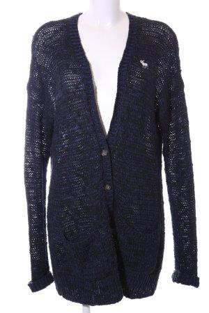 Abercrombie & Fitch Strickmantel blau-schwarz meliert Casual-Look