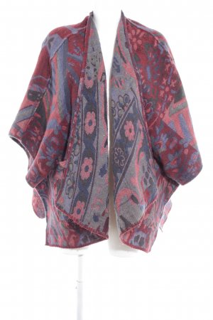 Abercrombie & Fitch Strickponcho bordeauxrot-dunkelblau abstraktes Muster