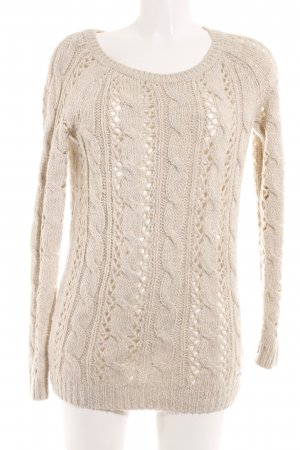 Abercrombie & Fitch Strickpullover beige Lochstrickmuster Casual-Look