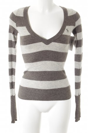 Abercrombie & Fitch Knitted Sweater grey brown-light grey striped pattern